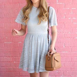 ASOS Dresses - Soft Blue Lace Dress With Keyhole Back